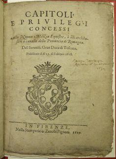 "Ownership inscription: ""Jacopo Tartagni capitano di carabinieri 1639[?]""  Coat of arms of Ferdinando II, Grand-Duke of Tuscany: Established heading: Ferdinando II, Grand-Duke of Tuscany, 1610-1670  Penn Libraries call number: IC6 T8712L 1629 All images from this book"