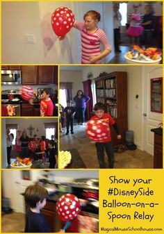 Balloon-on-a-spoon party game at our #DisneySide @ Home Celebration #DisneyParks #MomSelect