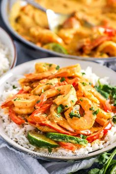 Curry shrimp is a delicious weeknight meal. Made with coconut milk, curry powder, and shrimp it is perfect served over rice or noodles! #spendwithpennies #shrimpcurry #shrimpcurryrecipe #maincourse #seafood #curry