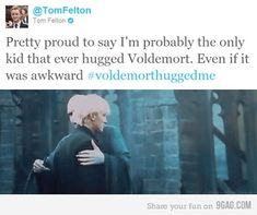 Tom Felton, probably the only kid that ever hugged Voldemort. (Draco Malfoy)