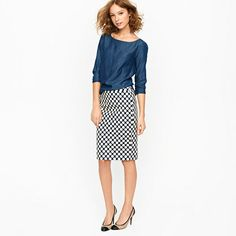 Great statement skirt that will pair with almost any top. Petite No. 2 pencil skirt in pop art polka dot. J Crew $118