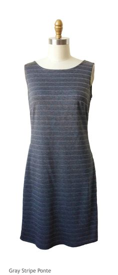 The Emily Dress is a tailored dress, perfect for hourglass shaped women. It's gray stripes make it the perfect dress for everyday.This knee length dress is made in America.