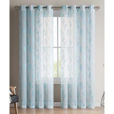HLC.ME Chloe Sheer Curtain Panel ($15) ❤ liked on Polyvore featuring home, home decor, window treatments, curtains, patterned curtains, sheer grommet window panels, sheer window panels, twin pack and sheer grommet curtains