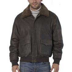 Landing Leathers Men's Cowhide Leather Flight Bomber Jacket with Removable Shearling Fur Trim