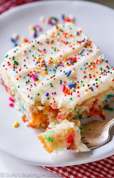 Soft and buttery vanilla funfetti sheet cake filled to the brim with sprinkles. Topped with my favorite creamy vanilla frosting and, as expected, more sprinkles.