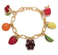 """Joan Rivers Enamel Fruit 7 3/4"""" Charm Bracelet"""