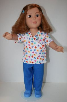 American Girl Doll Clothes  Vet Tech Blue by KathiesDollCloset, $10.99