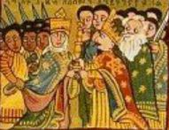 Ethiopians learn of the Queen of Sheba from her story in their holy book The Kebra Nagast - her trip to Solomon and subsequent birth of their son Menyelek. This detail from a strip painting shows a light skinned Queen meeting Solomon