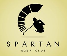 Looking head on, it appears to be a golfer who has just completed a drive, no doubt in the middle of the fairway! However, when you look at a side profile, the helmet of a Spartan warrior appears. Nice dual symbolism works well for this logo.