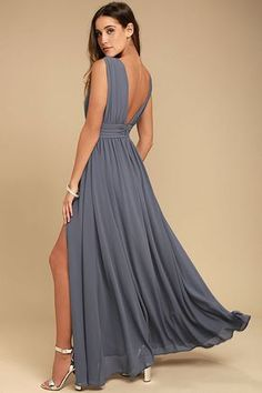 You'll be goddess-like for the entire evening in the Lulus Heavenly Hues Taupe Maxi Dress! Georgette fabric drapes alongside a V-neck and back, and lays across a banded waist. Full maxi skirt has a sexy side slit. Hidden back zipper with clasp. Burgundy Maxi Dress, Blue Maxi, Taupe Dress, Cute Dresses, Prom Dresses, Formal Dresses, Dusty Blue Bridesmaid Dresses, Taupe Bridesmaid, Backless Maxi Dresses