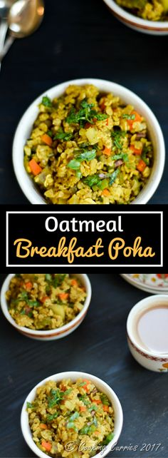 The traditional poha with flattened rice, transformed into a power packed bowl with oatmeal and lots of veggies, to help you start your day right! Healthy Breakfast Recipes, Clean Eating Recipes, Easy Healthy Recipes, Brunch Recipes, Savory Breakfast, Eating Healthy, Breakfast Ideas, Delicious Recipes, Healthy Food