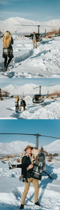 She was in the middle of a photoshoot when he showed up in a helicopter to propose!