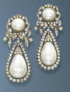 1840. pearl and diamond earrings