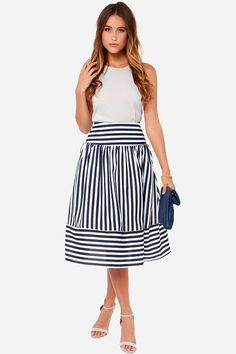 JOA Yacht in the Act Navy Blue and Ivory Striped Skirt at LuLus.com! Perfect skirt for work and church <3