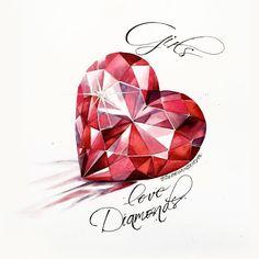 OlgaDvoryanskaya olga@pr-butik.com red heart diamonds love present valentine's day postcard watercolor illustration