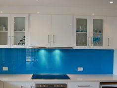 Blue glass splashback!! yes!!