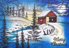 Scene by Ken Pesho Christmas Cards To Make, Holiday Cards, Bob Ross Paintings, Paint Cards, Covered Bridges, Nature Scenes, Cool Artwork, Making Ideas, Vintage Christmas