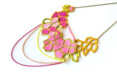 Neon Necklace Geometric Pink Leather Hexagons and Chain
