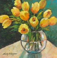 """Daily Paintworks - """"By Request"""" - Original Fine Art for Sale - © Nancy F. Protea Art, Flower Artists, Oil Pastel Paintings, Watercolor Painting Techniques, Naive Art, Small Art, Abstract Flowers, Mellow Yellow, Art Pages"""