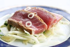 Seared Ahi Tuna recipe from Simply Recipes. Ingredients: 2 ounce) ahi tuna steaks of an inch thick), 2 tbsp dark sesame oil, 2 tbsp soy sauce (or 2 teaspoons of wheat-. Seared Ahi Tuna Recipe, Seared Tuna, Tuna Recipes, Seafood Recipes, Cooking Recipes, Seafood List, Epicurious Recipes, Drink Recipes, Cooking Tips
