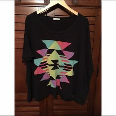 Urban Outfitters Oversized Aztec Tee ⭐️ One size oversized black tee from Urban Outfitters, brand Title Unknown! Features a multicolored Aztec print! Title Unknown Tops Tees - Short Sleeve