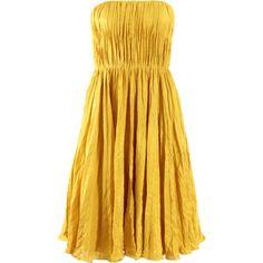 OSCAR DE LA RENTA Strapless Crimpled Pleat Dress ($3,190) ❤ liked on Polyvore featuring dresses, vestidos, yellow, short dresses, marigold, short long dresses, long dresses, long pleated dress, short strapless dresses and oscar de la renta dresses