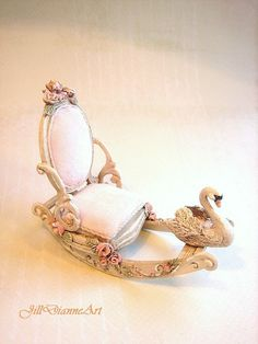 Childs Rocking Swan Boat Chair Pink - Antique White - Sculpted Swan, Roses…