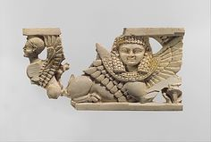Openwork plaque with sphinxes Period: Neo-Assyrian Date: ca. 9th–8th century B.C. Geography: Syria, probably from Arslan Tash (ancient Hadatu) Culture: Assyrian Medium: Ivory, gold foil Dimensions: H. 2 1/2 x L. 4 1/4 in. (6.4 x 10.8 cm) Classification: Ivory/Bone-Relief, Inscribed Credit Line: Fletcher Fund, 1957 Accession Number: 57.80.4a, b