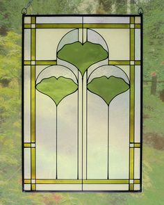 Green - verde - vitral - Arts and Crafts Ginkgo Stained Glass