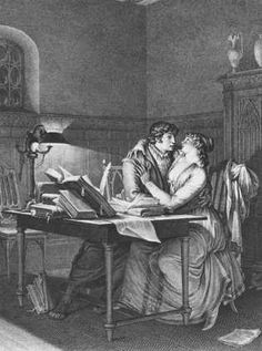 Heloise And Abelard In Their Study, Illustration From 'lettres D'heloise Et D'abelard', Volume I, Page Engraved By Noel Le Mire 1795 Giclee Print Poster by Jean Michel the Younger Moreau Canvas Art, Canvas Prints, Thing 1, Sculpture, Art Store, Jean Michel, Poster Size Prints, Print Poster, Illustrations Posters