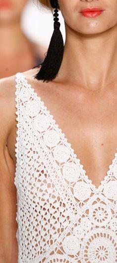 Laurel at Mercedes-Benz Fashion Week Spring/Summer 2017 - (Details) White Crochet Dress