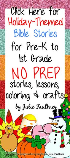 Holiday-Themed Bible Lessons for Pre-K to 1st Grade | Halloween Thanksgiving Christmas | No Prep Lessons and Coloring