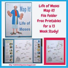 We will be using this file folder Life of Moses: Map It! each week for the entire Moses quarter. The map is not meant to be to scale, and. Bible Study For Kids, Bible Lessons For Kids, Learn Hebrew Online, Bible Mapping, File Folder Games, Bible Activities, Bible Games, Moise, Bible Crafts