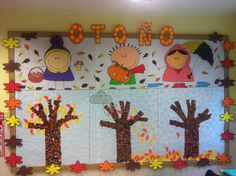 Señorita Gominola: Mural de Otoño. Abc Preschool, Kindergarten Design, School Murals, Some Ideas, Classroom Themes, Fall Crafts, Decoration, Art For Kids, Projects To Try