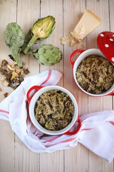risotto de setas y alcachofas