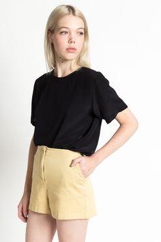 Vintage 90s Esprit Khaki Cotton High Waist Minimal Shorts with Pockets | S