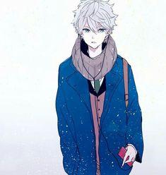 Anime Guy | White/Silver Hair | Blue Eyes | Winter | Uniform