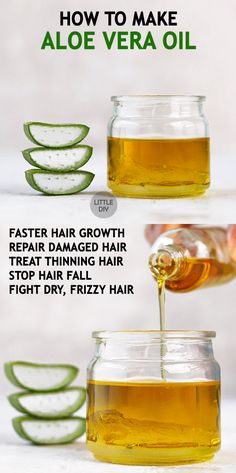 Aloe vera is used in a lot of skin care, hair care and healthy recipes. It is one of the best skin care and hair care ingredients! Aloe vera oil is available commercially and is certainly expensive. Below is how you could make your own aloe vera oil using Hair Care Oil, Diy Hair Care, Hair Oil, Natural Hair Conditioner, Aloe Vera Skin Care, Damaged Hair Repair, Hair Loss Treatment, Tips Belleza, Hair Health