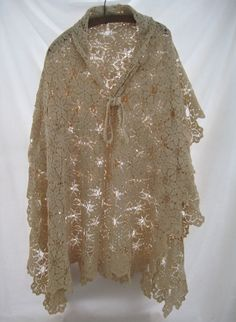 Vintage lace ivory wedding bridal shawl, repurposed lace, hippie boho chic romantic hand crochet one of a kind bridesmade cape shawl wrap by thelavenderpear on Etsy