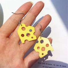 Cheese Earrings Very cute and funny accessories for women. Weird Jewelry, Funky Jewelry, Cute Jewelry, Handmade Jewelry, Diy Clay Earrings, Funky Earrings, Drop Earrings, Polymer Clay Charms, Polymer Clay Jewelry