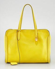 New Skull Padlock Zip-Around Tote Bag, Yellow by Alexander McQueen at Neiman Marcus.