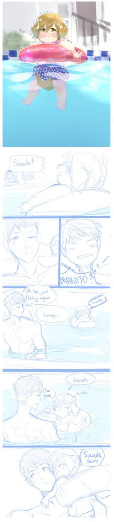 Makoto accidentically floated to the deep end of the pool ...  Drawn by lesfrites ... Free! - Iwatobi Swim Club, free!, iwatobi, makoto tachibana, makoto, tachibana, dog, puppy, sousuke, yamazaki, sousuke yamazaki