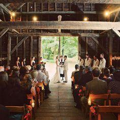 beautiful barn interior ceremony.