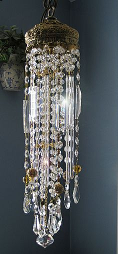 Golden crystal wind chime / sun catcher. by Leah. Sold.