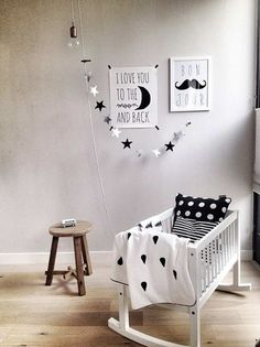 Black and White nursery inspiration Baby Bedroom, Baby Boy Rooms, Baby Boy Nurseries, Baby Cribs, Nursery Room, Kids Bedroom, Deer Nursery, Monochrome Nursery, White Nursery