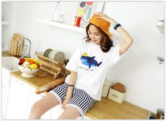 PINKSISLY - Set: Round-Neck Print T-Shirt + Band-Waist Stripe Shorts #koreanfashion
