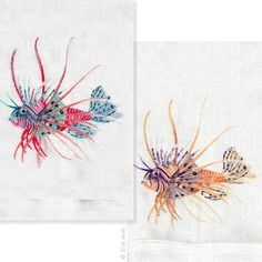 Lion Fish Towels: Finely detailed embroidered thread paintings for which Anali is so well known. Anali's Lion Fish design is embroidered on white linen guest towels.