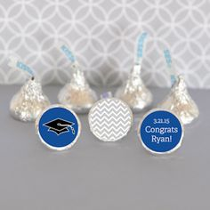 Personalized Graduation Hersheys Kisses Labels (Set of 108) (Event Blossom EB4003G) | Buy at Wedding Favors Unlimited (http://www.weddingfavorsunlimited.com/personalized_graduation_hersheys_kisses_labels_set_of_108.html).