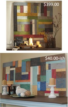 DIY Wall art made of painted wood pieces (copied from Pottery Barn's version above)