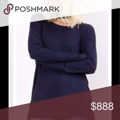 Fall Fresh! Navy Side Zip Detail Super Soft Top Super soft, comfortable fit, long sleeved, side zip tunic.  Great for many seasons, perfect for layering. Perfect pairing with the Navy/Burgundy Wrap Scarf! 95% Rayon, 5% Spandex.  Runs true to size. Various Tops Tees - Long Sleeve